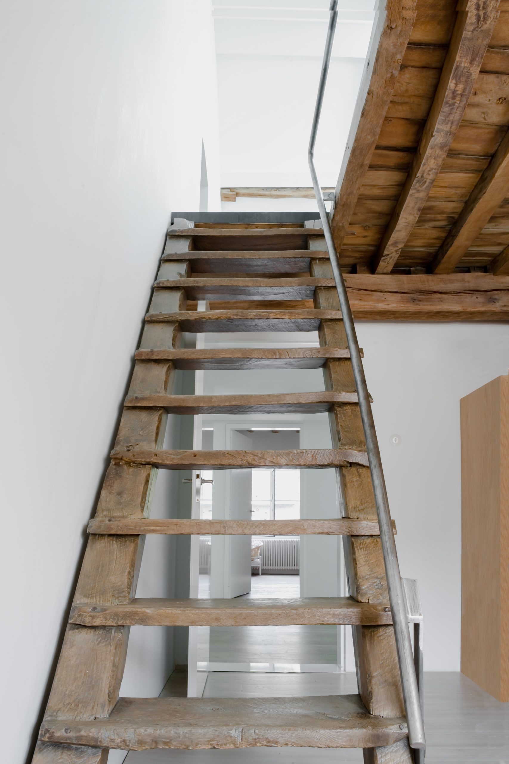 rustic wooden stair case