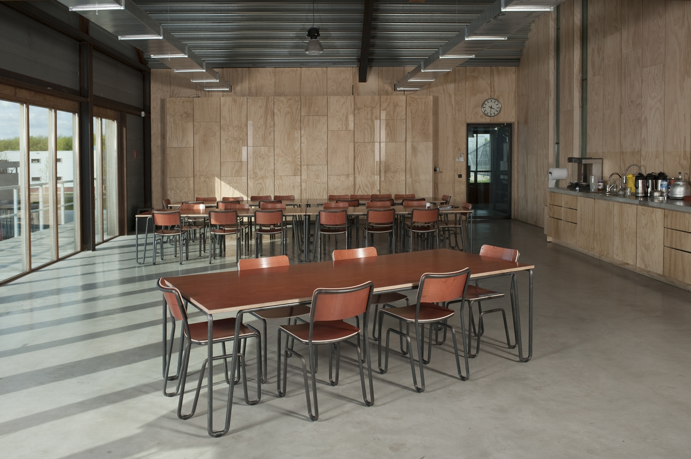 Zoom chairs and table in lunchroom