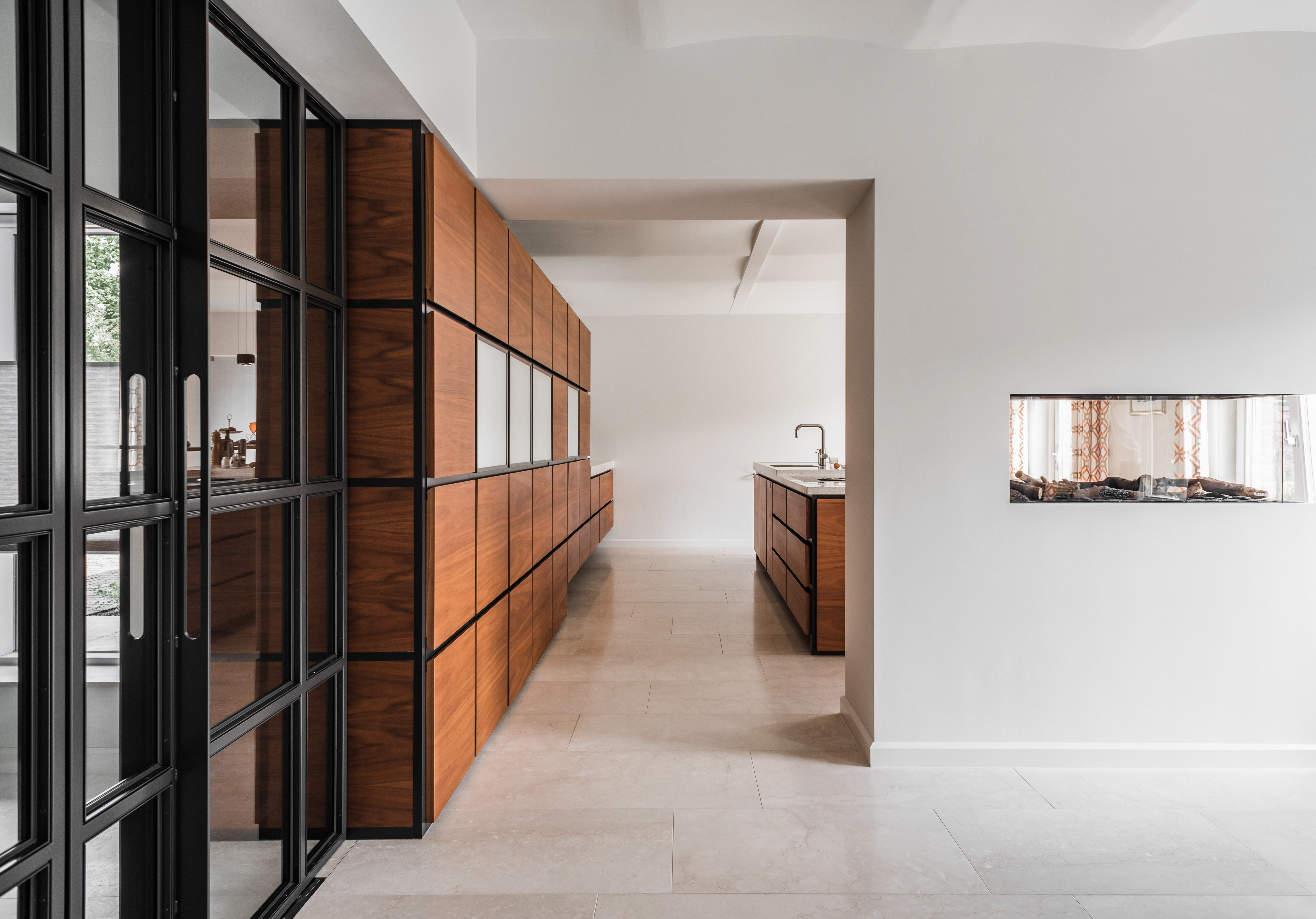 Kitchen and fireplace divider