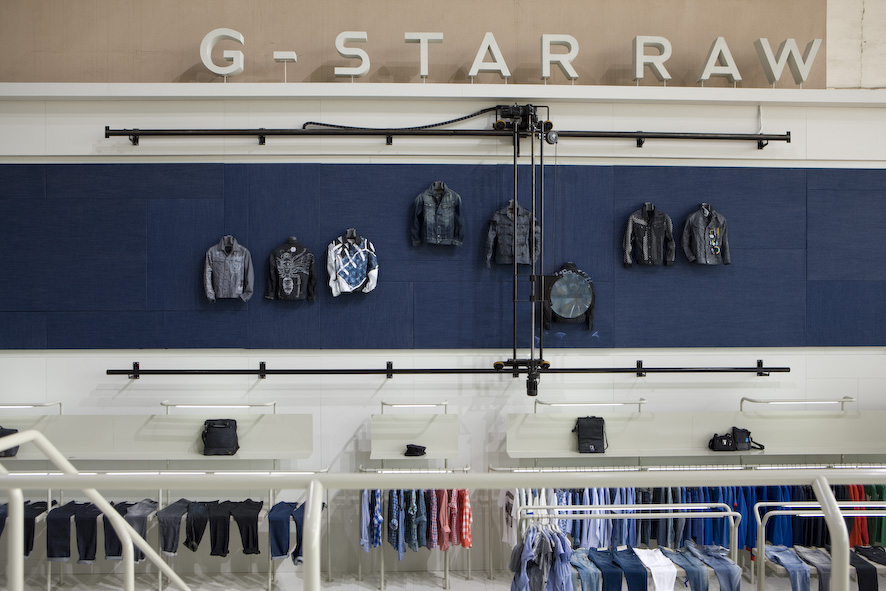 g-star raw clothing wall setup